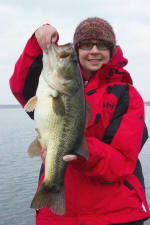 Ann with a 7 lb'er caught on a red rat-l-trap