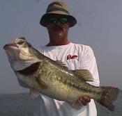 Pro Guide John Tanner with a Lake Fork bass that weighed 9.8 pounds.