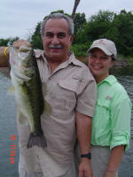 Alfredo M Brugueras from Plano, Texas caught this bass weighing 8 lb 8 oz. while fishing with Guide Johnny Glass.