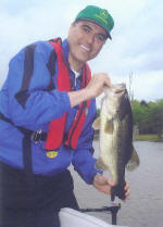 Graham Carruth from Irving, Texas caught this 8 lb bass while staying at Axton's Bass City .