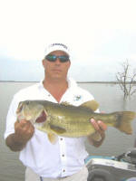 Jerry Kelly, with a nice Lake Fork bass caught while fishing with Pro Guide Marc Mitchell.