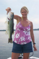 Debi caught this nice bass fishing with Pro Guide Tom Redington