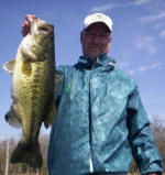 Brandon Block from Dallas with a hog he caught with Pro Guide John Tanner 3/6 on a white Cannibal by www.grandebass.com.