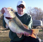 Mr. Overstreet reeled in an 11 pound bass. It was a group effort! What a HOG!