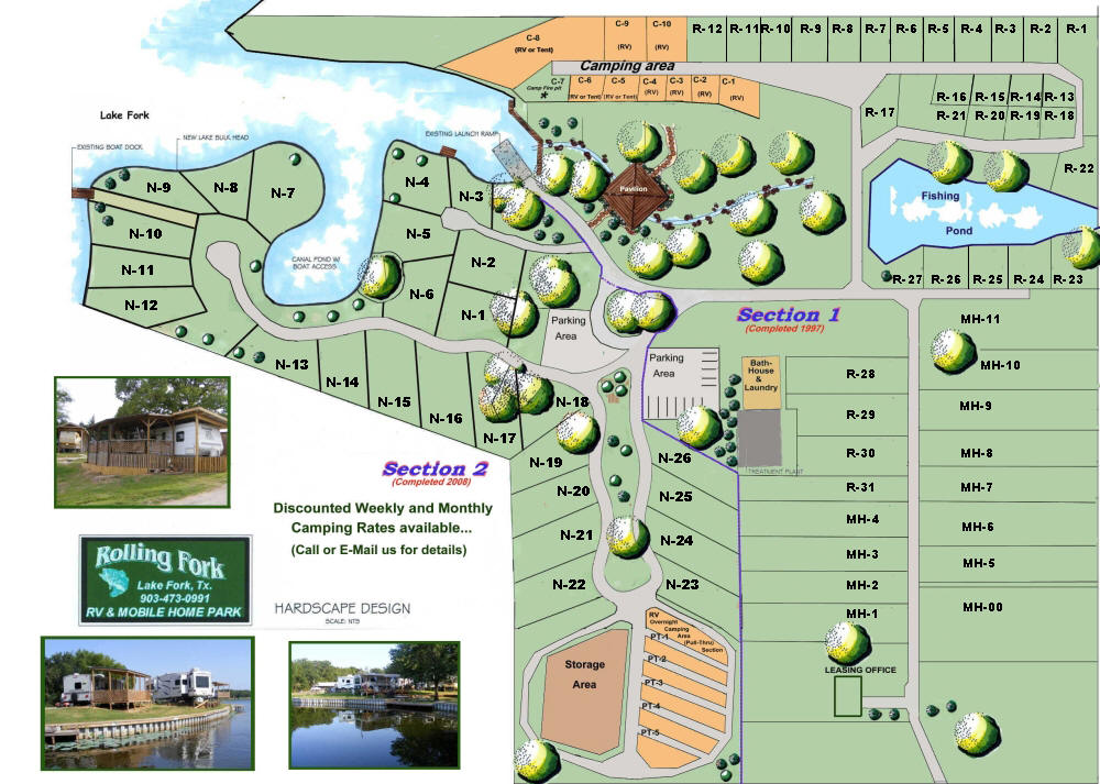 Lake fork rv park and mobile home park at rolling fork for Home site plan